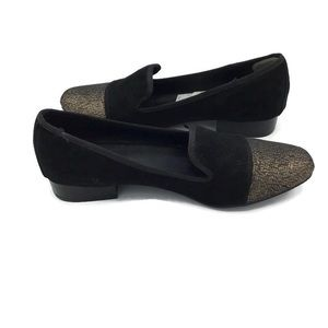 Rampage Evelyn Smoking Flats Size 8 Black Gold Toe